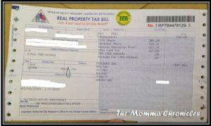 Real Property Tax Bill - Take note that this is NOT yet the Real Estate Tax Receipt