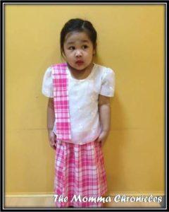 My preschooler in her traditional Visayan costume