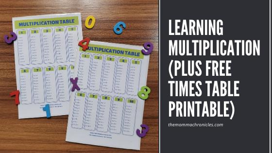 Free Multiplication Table Printable
